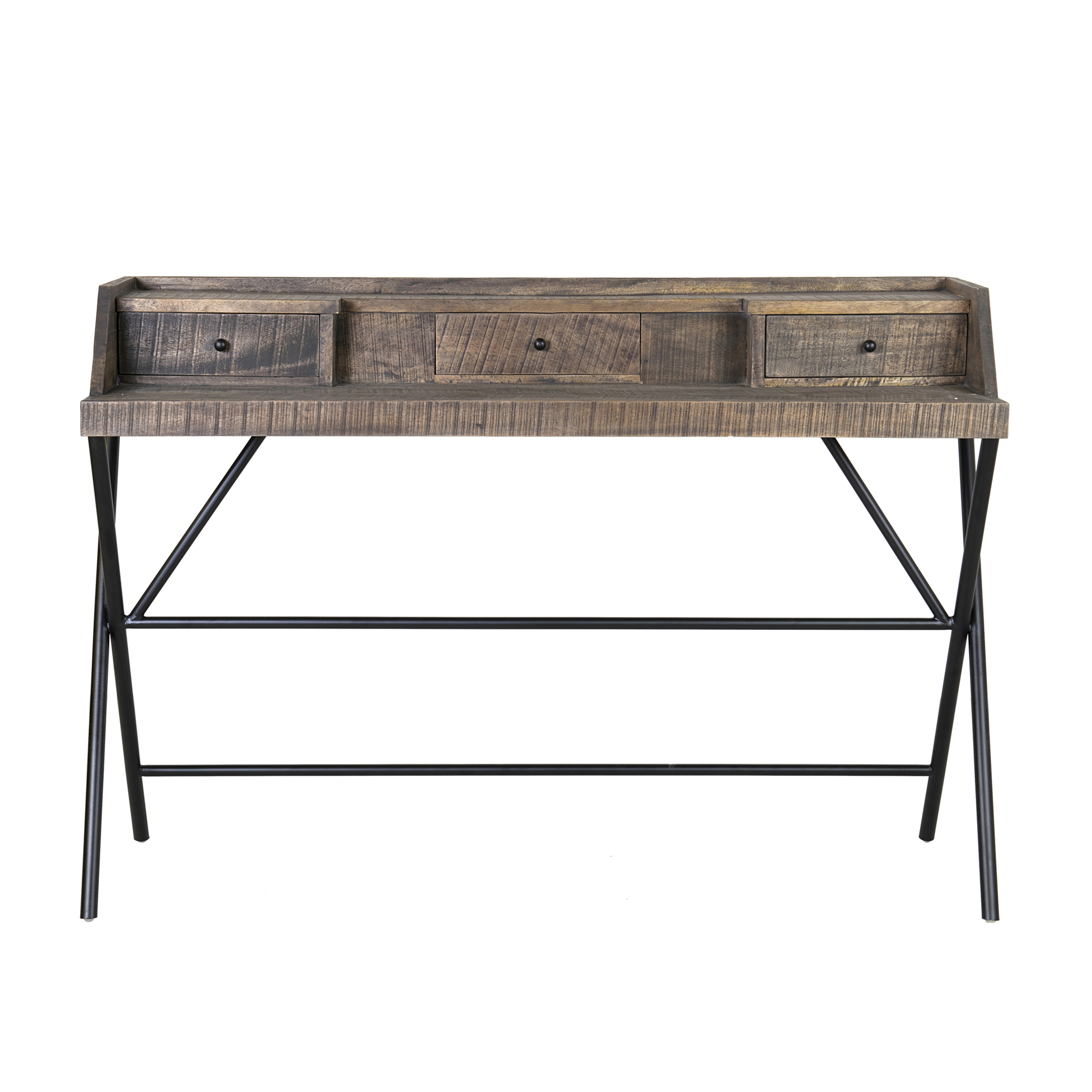 LS) Gabriel Campaign Style Desk With Metal Base And 3 ...
