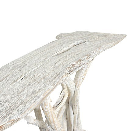 Roell teak top Console table with natural root base - White Wash..(46.5x17x30)..