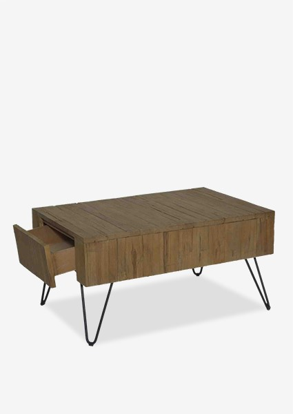 Sycamore Vintage Wash Cocktail Table With Angle Metal Leg With 2 Drawers  (K/D