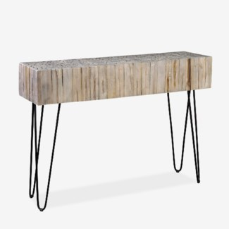 """(LS) Sycamore 43"""" Grey Wash Console With Angle Metal Leg (K/D) (43x12x31)"""