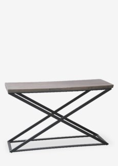 (LS) Cross console table with metal frame..Dimension: 51X18X32