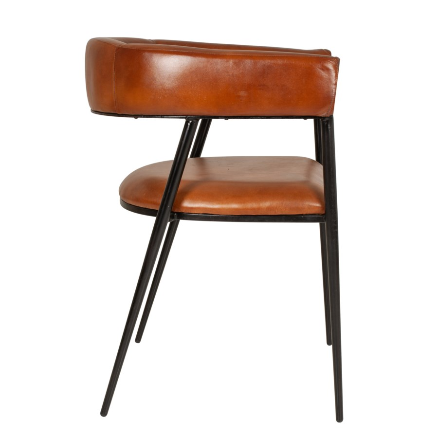 George Dining Chair, Iron/Leather