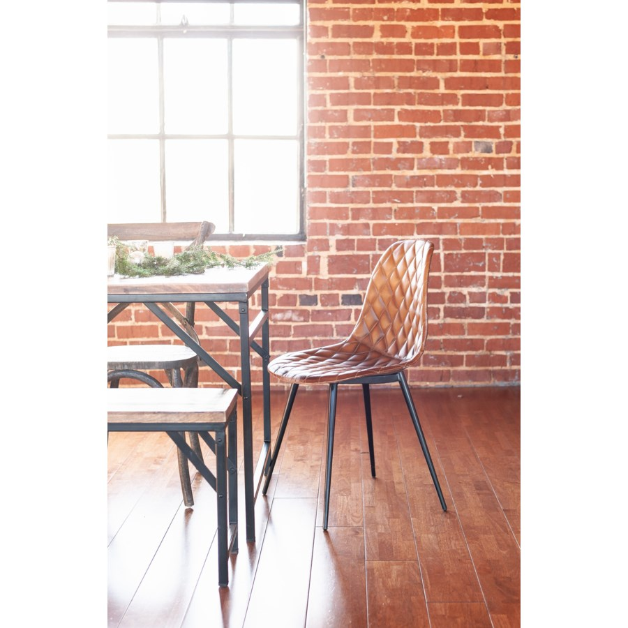 Finn Dining Chairs, Leather/Metal Legs, Set of 2 (Priced per pair)