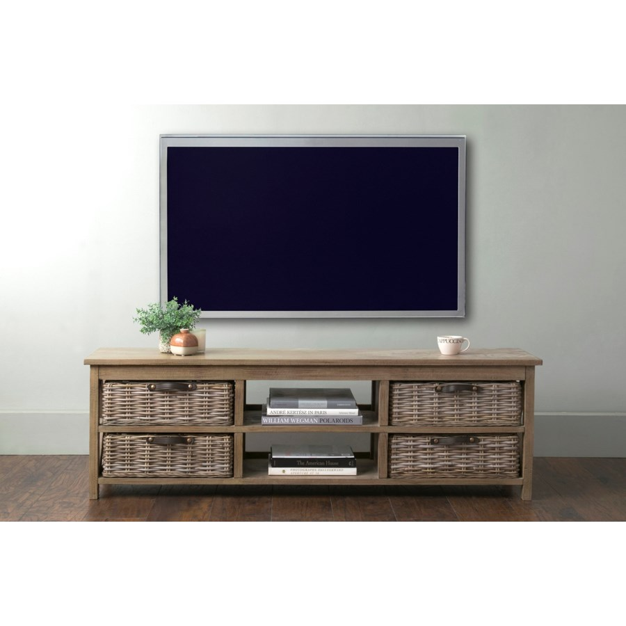 Simone TV Stand (2 Shelves+4 Baskets)-Grey (59X15X18)