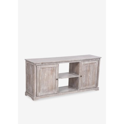 Jules White Wash Media Cabinet With 2 Doors And 2 Shelves 59x15