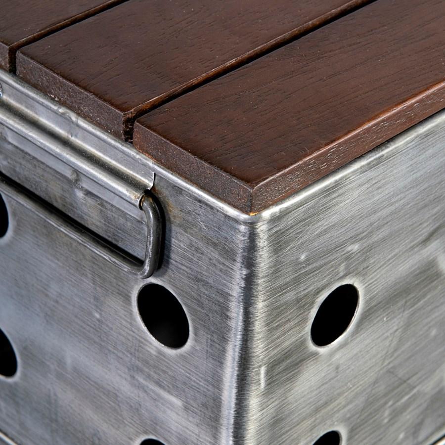 (LS) Crimson Zinc/Wood Storage w/ handle (Long)