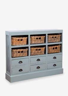 Nantucket Storage Cabinet (6 baskets+ 6 Drawers)-Light Grey (46x10x36)