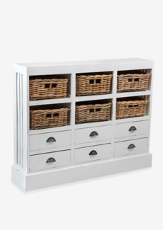 Nantucket Storage Cabinet(6 baskets + 6 drawers)-Antiq White (46x10x36)
