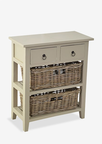 (SP) Baker Cabinet With 2 Drawers And 2 Rattan Baskets Grey Over White