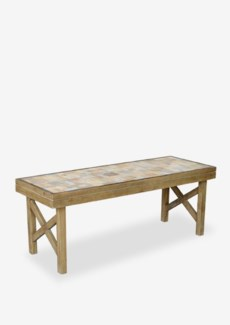 (LS) Wood Mosaic Cross Bench-KD (49.5X18X19)