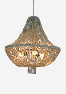 "32""H Teardrop shape capiz strand chandelier - Large -Grey Dimension: 31x31x32"