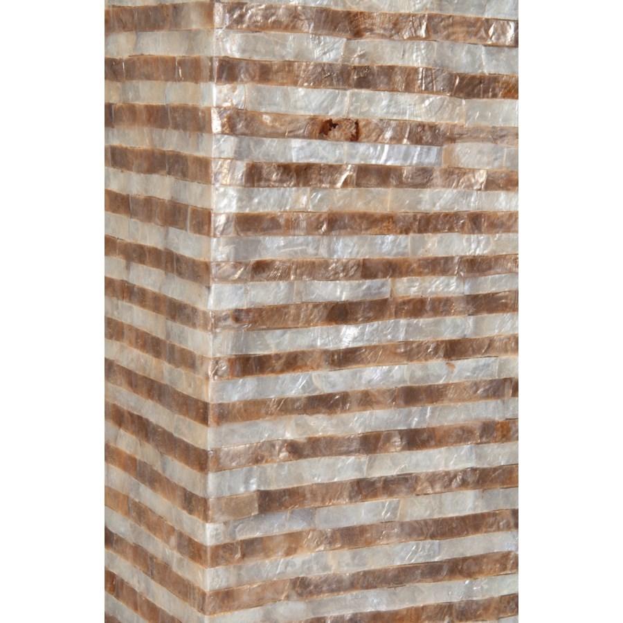 Uptown Gold - White Capiz Stripes Design Floor Lamp-Medium