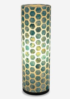 (SP) Octagon Pattern Capiz Table Lamp-Large-Turquoise..(8x8x25)..