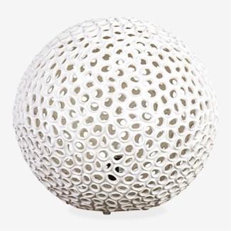 """(SP) 20"""" Elara Round Fiberlass Lamp - White (20X20X18)"""