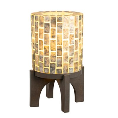 "(SP) 14.5"" H  Apolo Vertical Capiz Table Lamp with Wood Base - GW (9x9x14.5).."