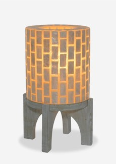 "(LS) 14.5""H  Apolo Vertical Capiz Table Lamp with Wood Base - WW (9x9x14.5).."