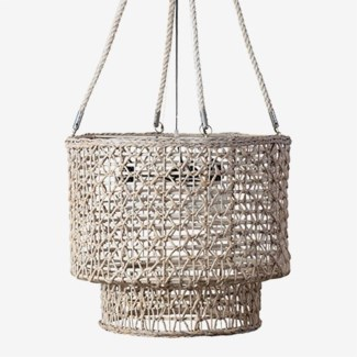 """(LS) 21"""" H  Double Barrel Hand Woven Natural Rope Chandelier-Natural"""