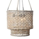 "21"" H  Double Barrel Hand Woven Natural Rope Chandelier-White Wash"