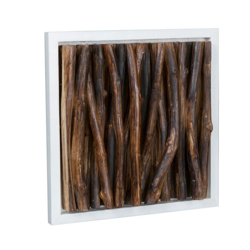 (LS) Amandra Wood Stick Wall Decor-White Frame (14x4x14)