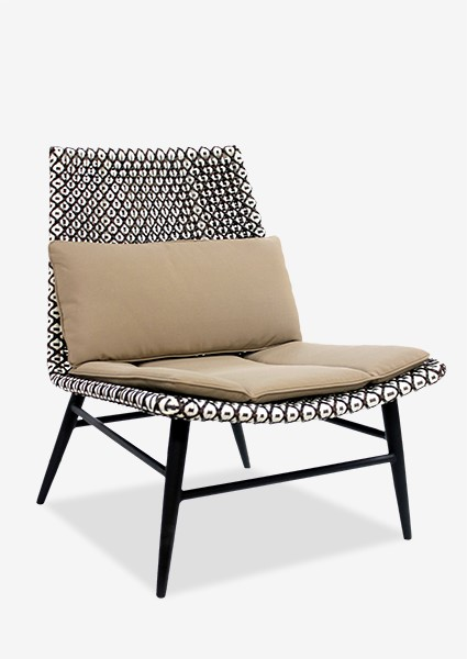 (LS) Outdoor Garret Chair With Two Tone Synthetic Rattan Weave And Taupe  Sunbrella Fabric