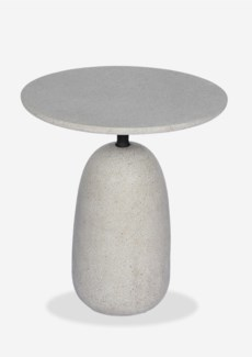 "(LS) Outdoor 18"" Round Bell Shape Fiberglass Reinforced Side table In Grey Concrete Finish (18X18X20"