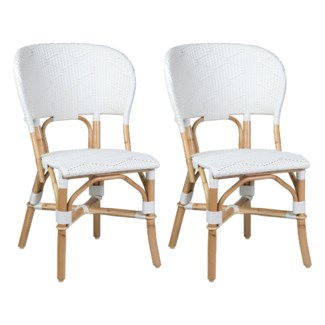 Flamenco Outdoor Bistro Dining Chair - White/Brown