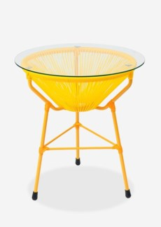 (LS) Scoop Outdoor Side Table w/ Glass Top - UV Protected Resin (19X19X23.5) - Yellow