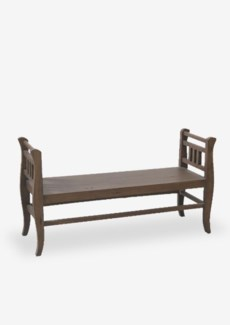 "(LS) 52"" Solid Mahogany Wood Bench with Storage -- Antique Oat..(52X17X28)"