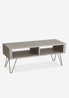 Simply wooden bench with shelves and iron base
