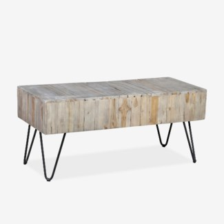 "(LS) Sycamore 39"" Grey Wash  Bench with Angle Metal Leg (K/D) (39x16x18)"