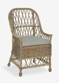 Bayside Arm Chair With An Argyle Patterned Back With Natural Grey Rattan (22x23x39)