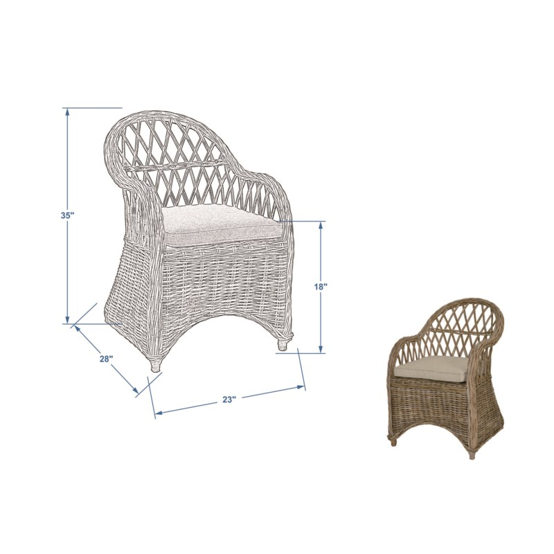 Bayside Round Back Arm Chair With An Argyle Patterned Back