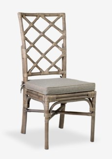 Pembroke Rattan Side Chair With A Repeat Diamond Pattern In A Grey Wash Finish-Minimum quantity 2 (1