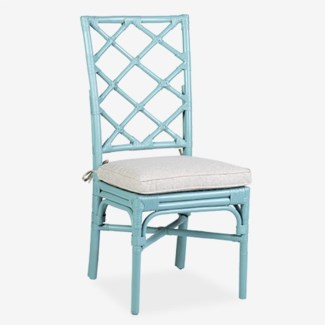 Pembroke Rattan Side Chair - sky blue