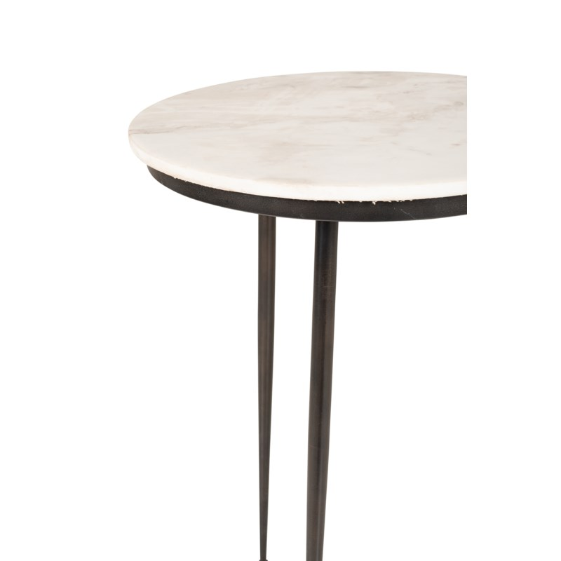 """Rigby 17"""" Round Marble Side Table, White/Iron"""