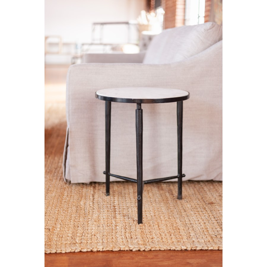 """Tetra 18"""" Marble Side Table, White"""