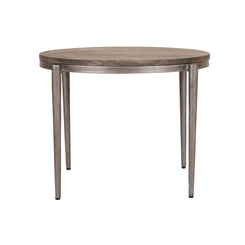 """Walker 20"""" Round Accent Table, Black Iron Frame/Grey Patina Wood Top"""