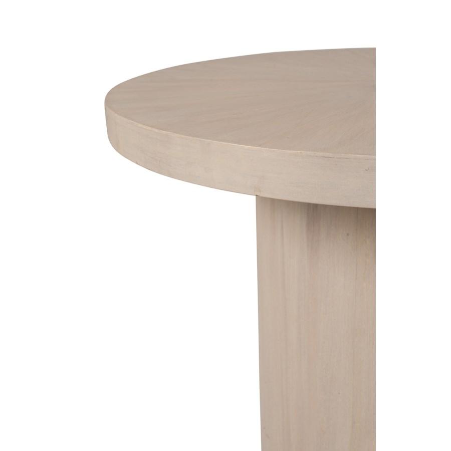 "Zane 24"" Round Side Table, White Wash"