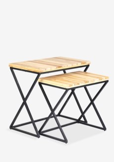 Clemments Nesting side table with wood slices top design set-2 with metal base