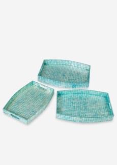 (LS) Oval Capiz Tray,Turquoise Color-Set of 3..(24X18X3.2/22x16x2.8/20x14x2.4)..