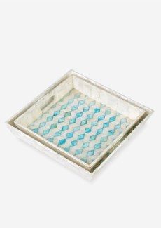 (LS) Square Capiz Tray-White and Sky Blue Color,Set of 2..(18X18X3.2/16X16X2.8)....