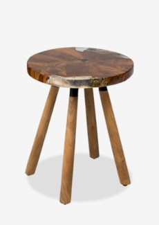 (LS) Queens Round icy wood side table with wood base..(16X16X18.5)..
