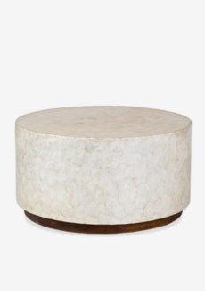 Round White Capiz Coffee Table. 31x31x16.