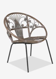 (LS) Sierra Blanca Washed Rattan Chair With Black Metal Legs - K/D..(29.5X26X31)..