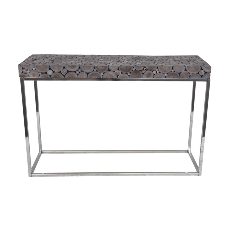 (LS) Serengeti round wood block console with stainless steel base - grey patina..(47X15X31)