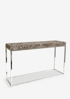 Serengeti round wood block console with stainless steel base - grey patina(47X15X31)