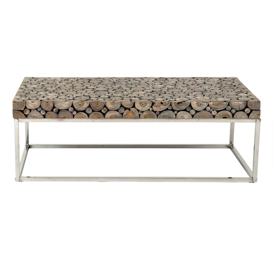 Stainless Steel And Wood Coffee Table: (LS) Serengeti Round Wood Block Coffee Table With