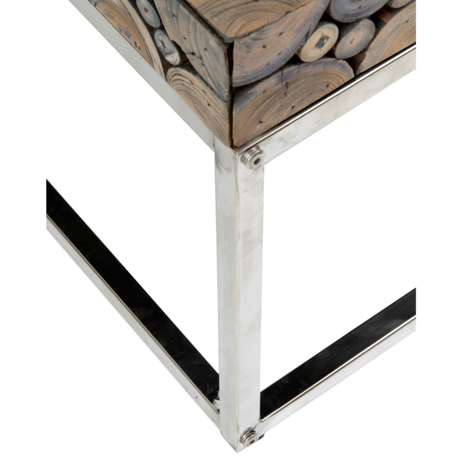 Round Stainless Base Coffee Height Tables: (LS) Serengeti Round Wood Block Coffee Table With