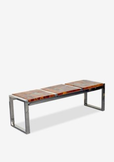 (LS) Uptown Icy wood bench -Natural resin Color (55x16x17)..
