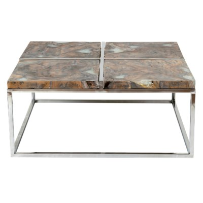 Uptown Icy Wood Coffee Table With Stainless Steel Base